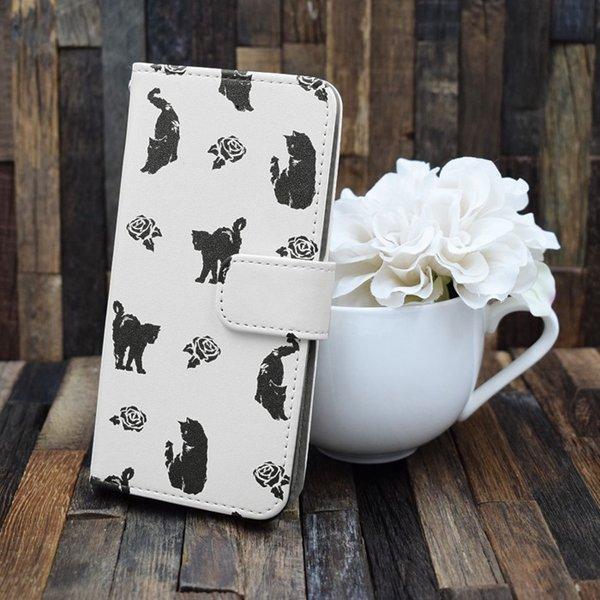 猫 スマホケース 手帳型 iphonexs ケース 携帯ケース アイフォンxs スマホカバー 手帳 アイホン おしゃれ 動物 花柄|kintsu|06