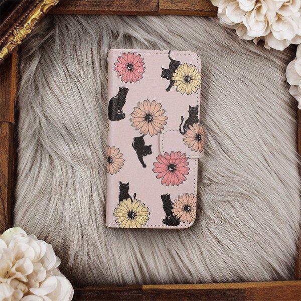 猫 スマホケース 手帳型 iphonexs ケース 携帯ケース アイフォンxs スマホカバー 手帳 アイホン おしゃれ 動物 花柄|kintsu|10