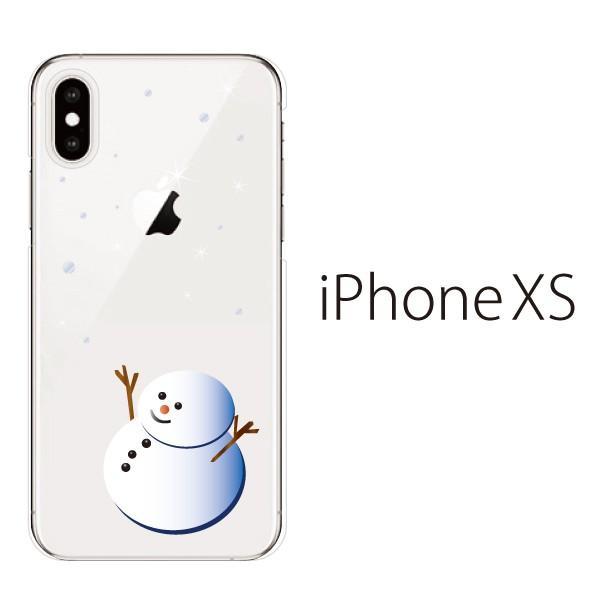 スマホケース iphonexs スマホカバー 携帯ケース アイフォンxs TPU素材 カバー 雪だるま クリア|kintsu
