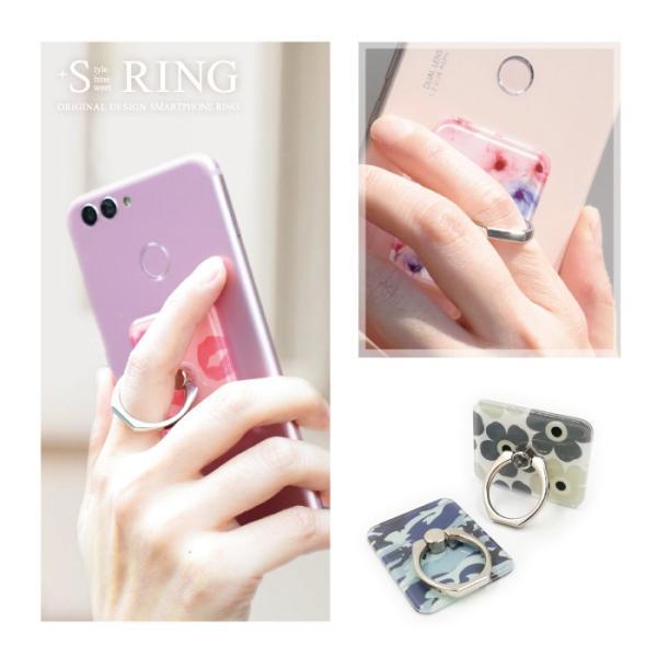 スマホリング おしゃれ スマホスタンド リングホルダー バンカーリング 花柄 軽量 iphone android 落下防止 スタンド 360度回転|kintsu|11