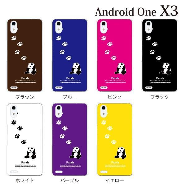 スマホケース ワイモバイルスマホカバー アンドロイドワンx3 ハードケース androidone パンダ あしあと|kintsu|02