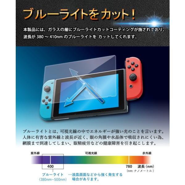 Nintendo Switch ブルーライト強化ガラスフィルム 送料無料 液晶保護 画面保護 表面硬度9H ニンテンドースイッチ 任天堂|kintsu|02