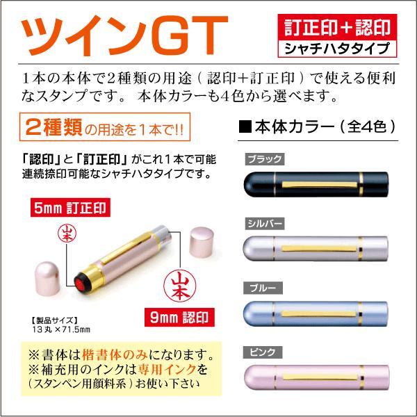 ツインGT ダブルネーム印 認印9mm+訂正印5mm シャチハタタイプネーム印 スタンペン