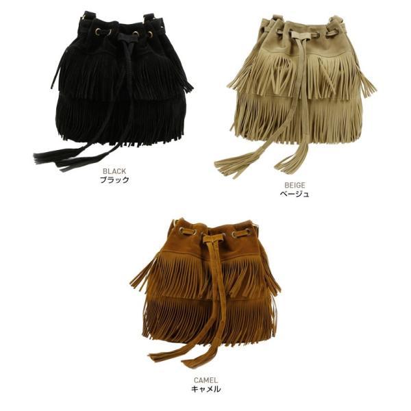 スエードタッチフェイクスエードフリンジ巾着バッグ大容量ショルダーバッグレディース黒キャメルブラウンベージュ鞄//// kira-kirashop 02