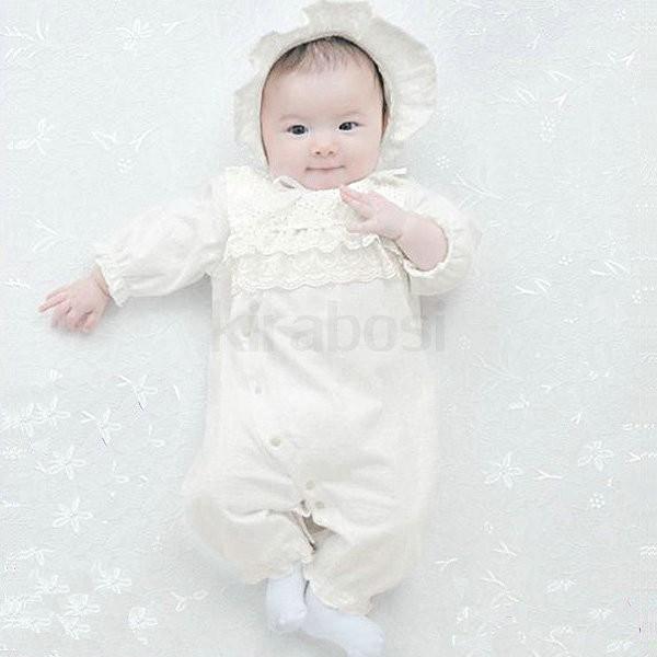 520499246f3b7 ... ベビー服 赤ちゃん 服 ベビー ツーウェイオール お宮参り 出産祝い  ピュアホワイト 帽子付き ...
