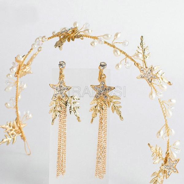 人気新品 ウェディング ヘッドドレス スターモチーフ ブライダルヘア飾り 結婚式 ヘアアクセサリー ヘッドドレス ウェディング ゴールド 花嫁 パーティー