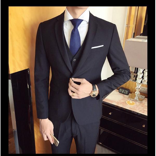 スーツ メンズ スーツセットアップ  ビジネススーツ 上下セット 三点セット フォーマル 細身 紳士服 卒業式 大人式 結婚式 通勤 就職 おしゃれ 2019新作|kirabosi|02