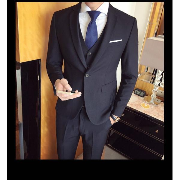スーツ メンズ スーツセットアップ  ビジネススーツ 上下セット 三点セット フォーマル 細身 紳士服 卒業式 大人式 結婚式 通勤 就職 おしゃれ 2019新作|kirabosi|03