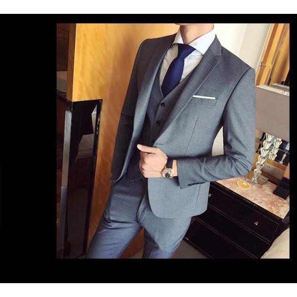 スーツ メンズ スーツセットアップ  ビジネススーツ 上下セット 三点セット フォーマル 細身 紳士服 卒業式 大人式 結婚式 通勤 就職 おしゃれ 2019新作|kirabosi|06