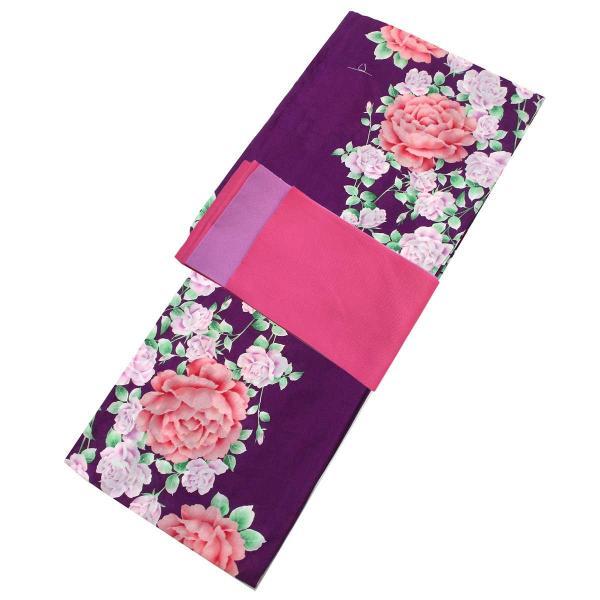 レディース 浴衣 2点 セット フリーサイズ 薔薇にピンク色の牡丹(紫色地) 桃色×薄紫色のリバーシブル帯 [y3296] ゆかた コーディネート 帯|kirakukai