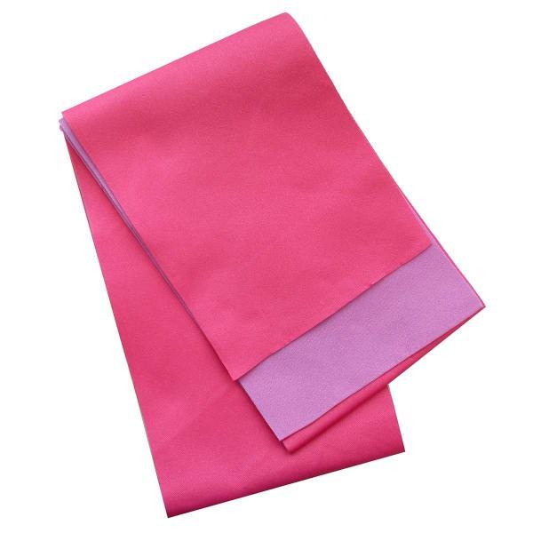 レディース 浴衣 2点 セット フリーサイズ 薔薇にピンク色の牡丹(紫色地) 桃色×薄紫色のリバーシブル帯 [y3296] ゆかた コーディネート 帯|kirakukai|02