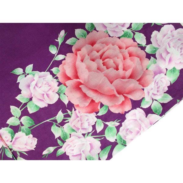 レディース 浴衣 2点 セット フリーサイズ 薔薇にピンク色の牡丹(紫色地) 桃色×薄紫色のリバーシブル帯 [y3296] ゆかた コーディネート 帯|kirakukai|03