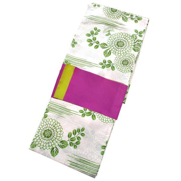 レディース 浴衣 2点 セット フリーサイズ 横縞に抹茶糸の菊や萩の柄(薄ピンク地) 紫色×金糸雀色のリバーシブル帯 [y3321] ゆかた コーディネート 帯
