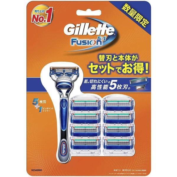 ジレット フュージョン5+1 マニュアル 髭剃り 本体+替刃 9個付 ホルダー1個 替刃9個付|kirameki-syooten