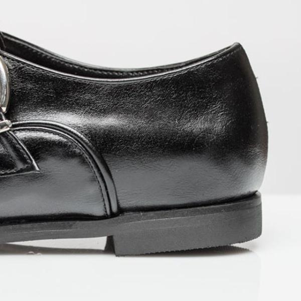 フラットシューズ ローファー マニッシュ ベルト 秋冬新作 おしゃれ トレンド 人気 韓国 ファッション 黒 ブラック