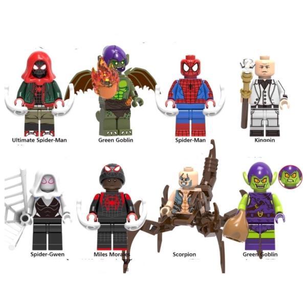 スパイダーマン グリーンゴブリン 2体ほか ミニフィグ 8体セット レゴ互換  / スパイダーハム|kirattofigure