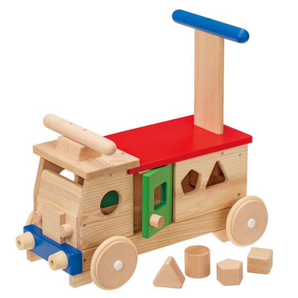 MOCCO モッコ 森のカラフルバス W-87(押し車 手押し車 赤ちゃん おもちゃ 乗用 男の子 女の子 木製 乗用玩具 足けり)