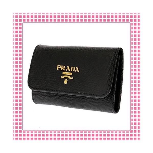 プラダ PRADA キーケース 「サラサラ」手触り サフィアーノカーフ SAFFIANO METAL-1PG222-ブラック/BLACK|kireiyasan