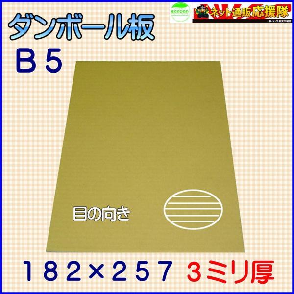 B段(3ミリ)B5サイズ ダンボール板(ダンボールシート)100枚