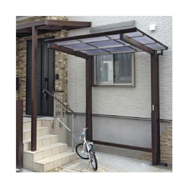 サイクルポート タカショー アートポートミニ 21-28 ロング柱(H25) 熱線カットポリカ屋根(グレースモーク色)  『サビに強いアルミ製 家庭用
