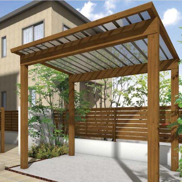 サイクルポート タカショー スノースタイル ミニ 熱線吸収ポリカ屋根使用(ブルースモーク) ロング柱(H25) 2990×2498   『サビに強いア