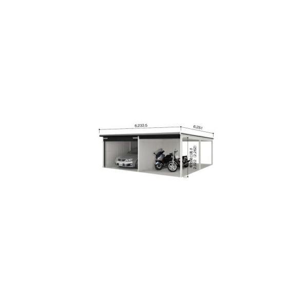 ヨドガレージラヴィージュVGC-3356H+VKC-2855Hオープンスペース連結タイプ『シャッター車庫ガレージ』