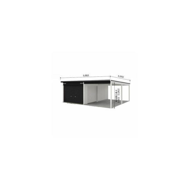 ヨドガレージラヴィージュVGCU-3052+VKCU-2852オープンスペース連結タイプ『シャッター車庫ガレージ』