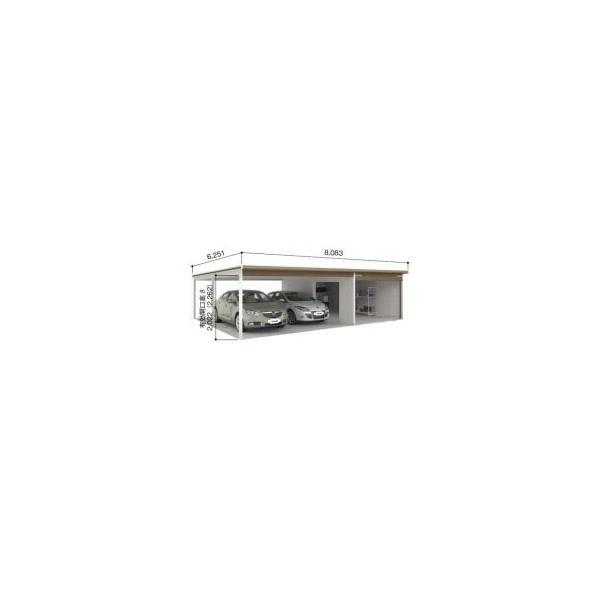 ヨドガレージ ラヴィージュ VGCU-3059H+VKCS-5059H オープンスペース連結タイプ 『シャッター車庫 ガレージ』