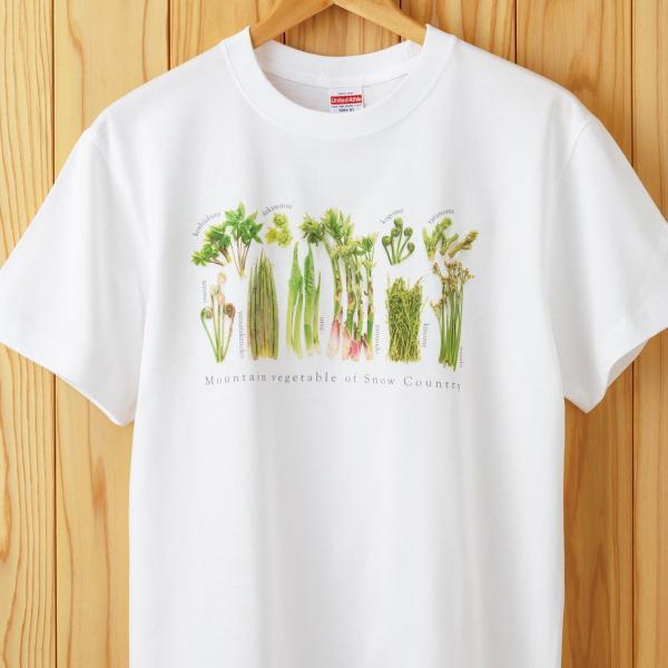 山菜図鑑Tシャツ 白 kiru-sansai
