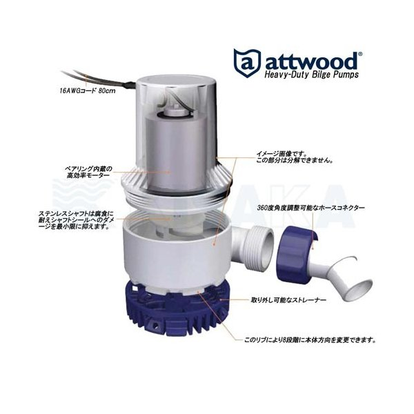 HD ビルジポンプ 24V 2000GPH (126L/分) attwood 504770 【あすつく対応】 kisaka-direct 04