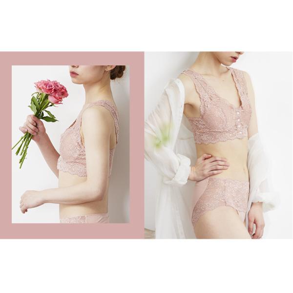 レースブラ 日本製 ブラジャー ノンワイヤー フロントホック ソフトブラ 乳がん しめつけない つけ心地  ブラ 全摘 手術 スナップボタン 前開き|kissmylife|06