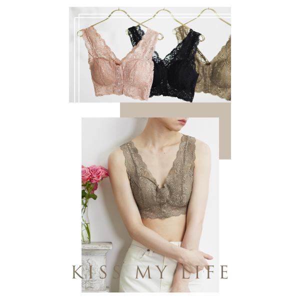 レースブラ 日本製 ブラジャー ノンワイヤー フロントホック ソフトブラ 乳がん しめつけない つけ心地  ブラ 全摘 手術 スナップボタン 前開き|kissmylife|07
