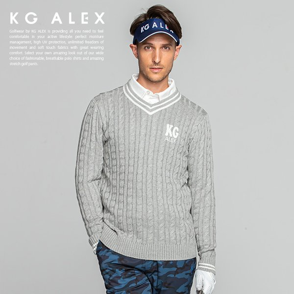 ゴルフニットセーターゴルフウェアメンズおしゃれセーター定番無地/サガラ刺繍入りケーブル編みニットセーター/KG-ALEXおしゃれ