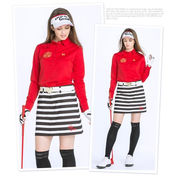 ボーダー柄ポンチスカート/ゴルフ ウェア レディース 女性用|kissonthegreen|02