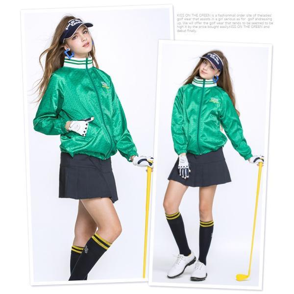 ジップアップロゴ柄ナイロンブルゾン/ゴルフ ウェア レディース 女性用【緑】|kissonthegreen|02