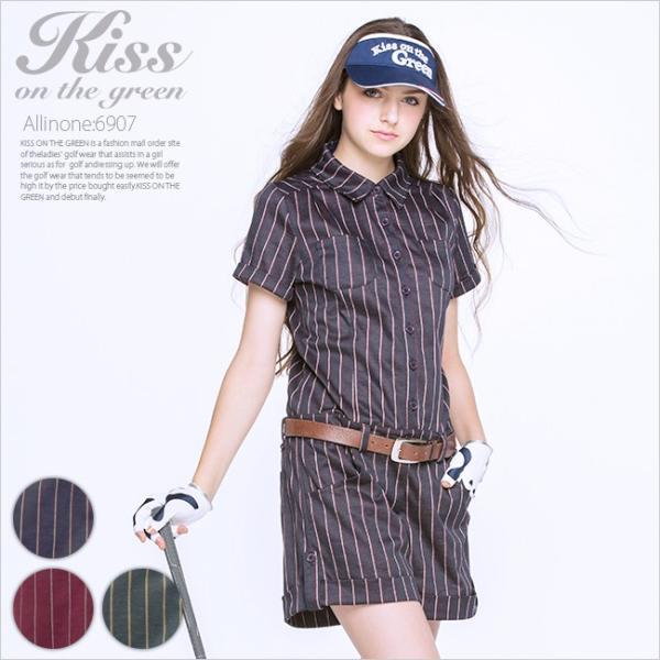 ピンストライプオールインワン/ゴルフ ウェア レディース 女性用|kissonthegreen