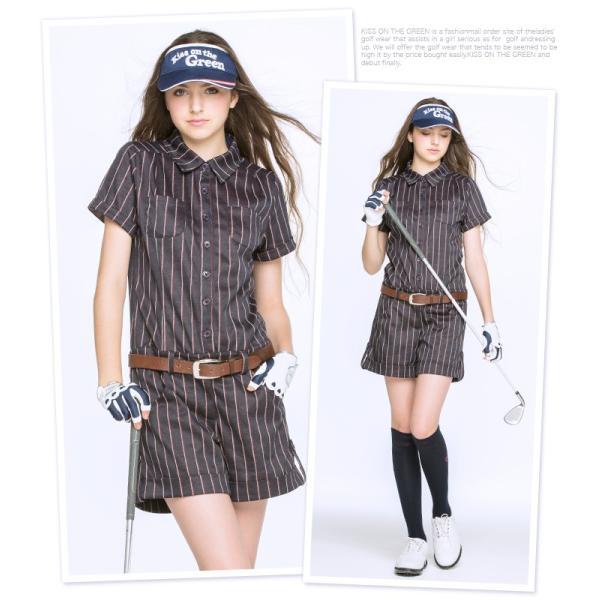 ピンストライプオールインワン/ゴルフ ウェア レディース 女性用|kissonthegreen|02