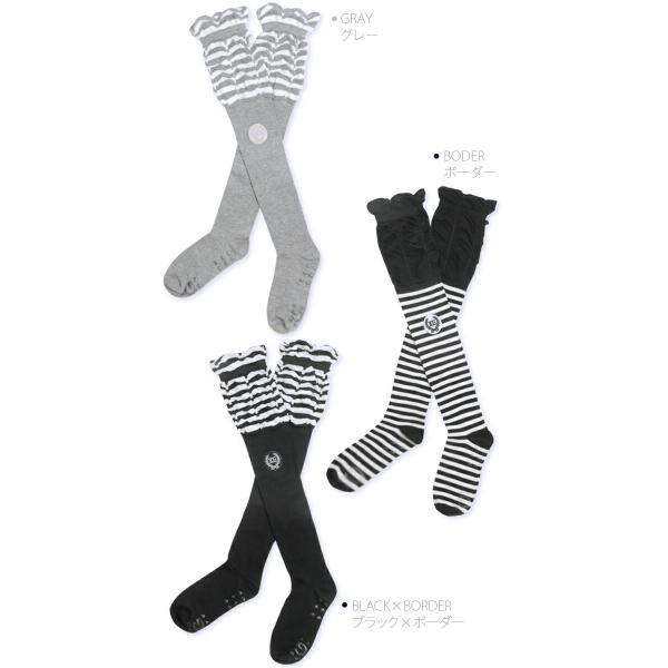 くしゅくしゅボーダーニーハイソックス/ゴルフ ウェア レディース 女性用|kissonthegreen|05