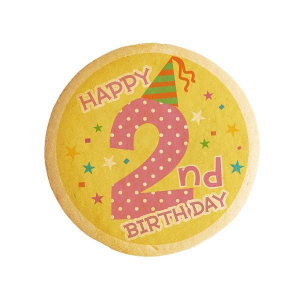 誕生日 スイーツ お菓子 HAPPY 2nd  BIRTHDAY 2歳の誕生日をお祝いするメッセージクッキー お祝い プチギフト 個包装 プリントクッキー