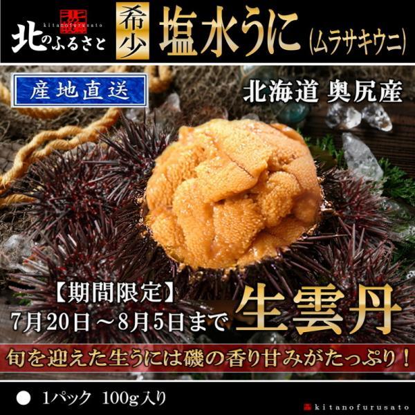 北海道 奥尻産 塩水うに 1パック 100g 生うに キタムラサキウニ 生 生ウニ 生雲丹 うに ウニ 雲丹 うに丼 国産 海鮮 期間限定 甘い 人気 ギフト