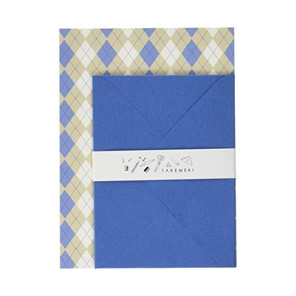 (TAKEMEKI)レターセット 青(便箋10枚封筒3枚入り)かわいい おしゃれ 大人 カラフル 手物 シンプル 定形 セット 日本製 柄 オリジナル
