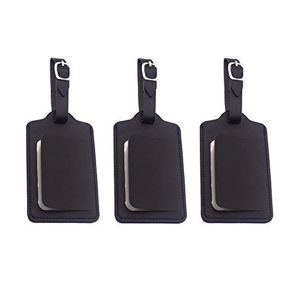 荷物ネームタグ 紛失防止 レザー スーツケースタグ 3枚入り バッグ用ネームタグ ネームプレート 番号札 出張 旅行対応 ベルト付き カバン装飾