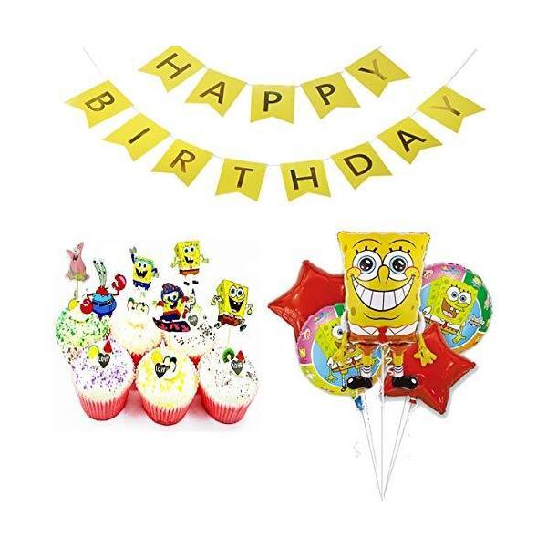 スポンジボブ 誕生日 飾り付け キャラクター イエロー 可愛い 子供 男の子 女の子 ケーキトッパーbirthday バナー ガーランド 30枚セット