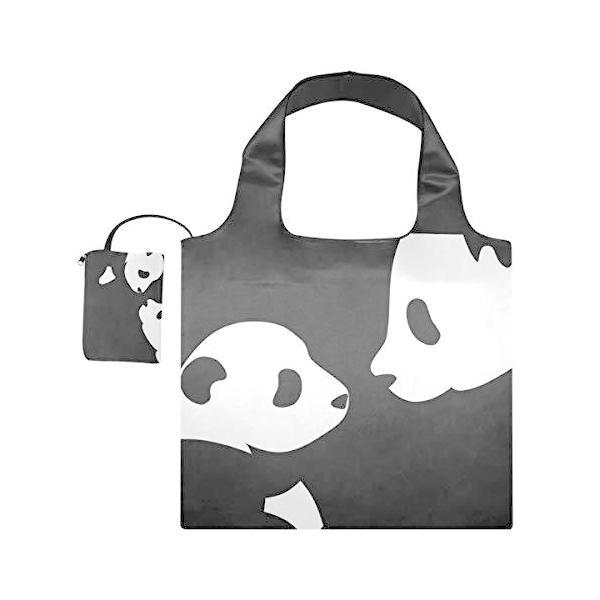 USAKI エコバッグ かわいい パンダ 白黒 折り畳み 買い物バッグ ショッピングバッグ 大容量 軽量 プレゼント