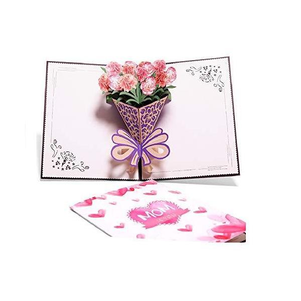 立体バースデーカード、手作り3Dポップアップカード、お誕生日カード、フラワーカード、メッセージカードティングカード、祝福カード (立体花のカード-C)