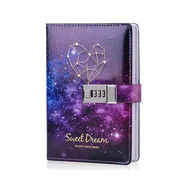 星空鍵付き パスワード 日記帳 可愛いノート 秘密 夢幻 メモ帳 手帳 女の子と子供へのギフト