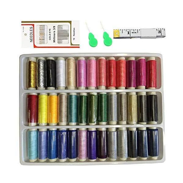 Maydahui 手縫い糸 39色セット カラーが豊富 裁縫 手芸 糸 セット ミシン糸 カラフル ミシン針 1PCソフト測定テープ 2PCS針糸通し