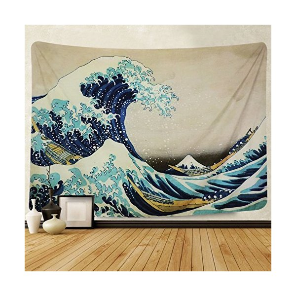 Pknoclan 和風タペストリー 、富士山 神奈川沖波裏壁掛け 、海の波 山 自然風景壁掛け布、古性ギフト 和室 玄関 窓 店 、210x150cm