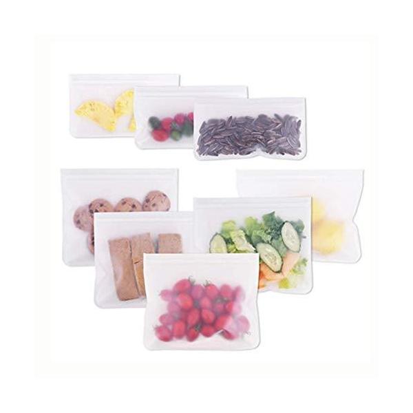 Candyeu 再利用可能なストレージバッグ ? 8 パック 漏れ防止シリコンとプラスチックフリー冷グ ジップロックランチバッグ 食品保存 冷凍庫使用