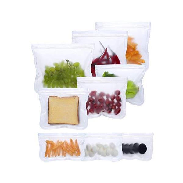 Candyeu 再利用可能なストレージバッグ - 9個パック PEVA気密冷凍バッグ 漏れ防止 再利 ランチ食品 スナック 果物 ホームオーガナイザー